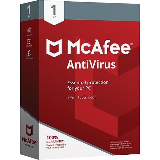 Mcafee Anti-Virus 2018 - 1 User Card