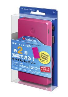 Verbatim 4000mAh Portable Battery Li-Polymer Pink