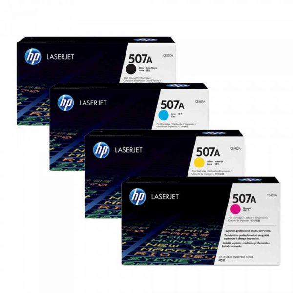HP 507A 4 Color Black/Cyan/Magenta/Yellow Original Toner Cartridge Set