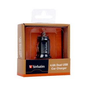Verbatim Dual Output 4.8A Car Charger - Black