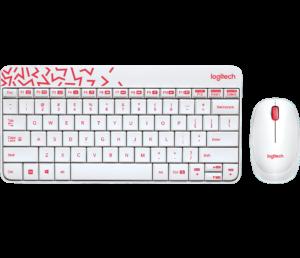 Logitech Wireless Mouse & Keyboard Combo MK240 - White/Vivid Red