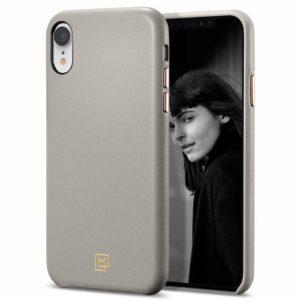 Spigen iPhone XR Case La Manon câlin Leather Case - Oatmeal Beige