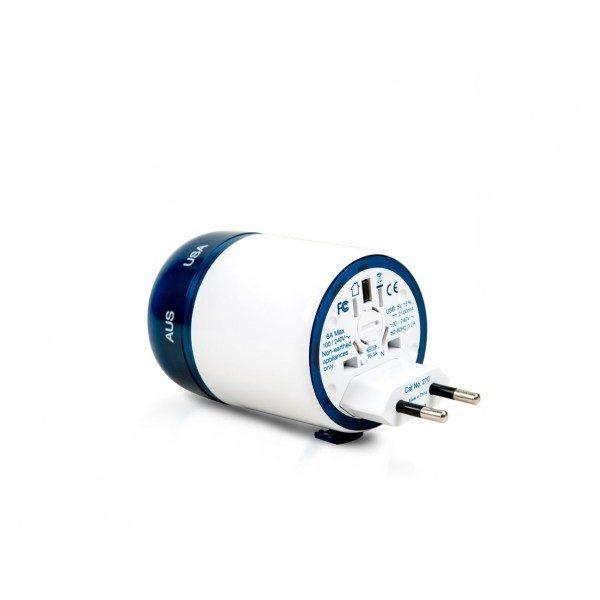Travel Blue Twist & Slide World Travel Adaptor + 2 X USB