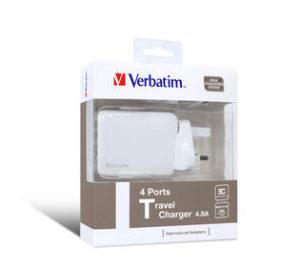 Verbatim 4.8A 4 Ports Traveller Charger - White