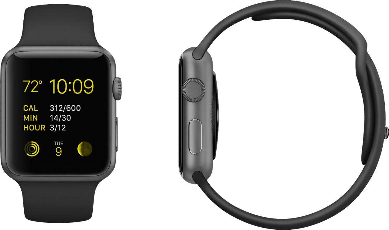 size 40 dcd42 e8ffe Apple Watch Sport Space Grey Aluminium Case 42mm (Black Sport Band)