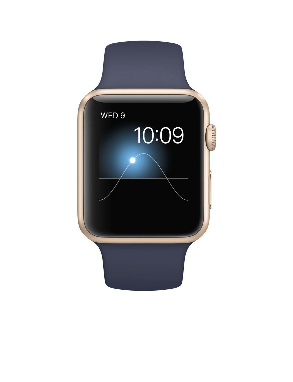 e864761cf4cb21 Apple Watch Sport Gold Aluminium Case 42mm (Midnight Blue Sport Band ...